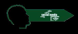 Médias sociaux nommés sur une flèche