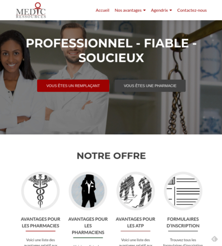 Screenshot Site web Médic Ressources